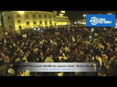 Galeria lui CSU și peste 20.000 de oameni cântă ''Acolo este țara mea'' în Piața Mare