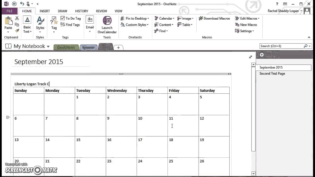 OneNote for Homeschool - Insert Monthly Calendar - YouTube