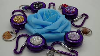 Rhinestone Druzy Key Ring Badge Holder on Purple Retractable Reel with Carabiner