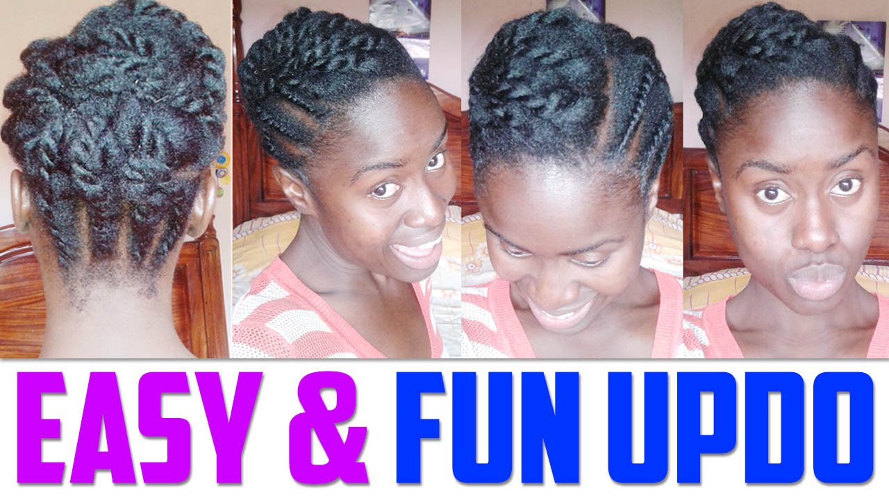 Easy Updo For Short To Medium Length Hair Natural Hairstyle Youtube
