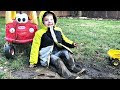 Caleb Pretend Play Outside In GIANT MUD PUDDLES and Making Mud Pies!