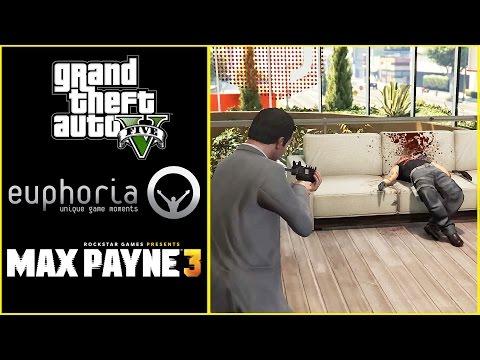 GTA 5 Vs Max Payne 3 Physics Ragdoll Comparison (Euphoria Mod RDR/MP3) side by side