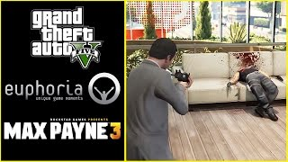 GTA 5 Vs Max Payne 3 Physics Ragdoll Comparison (Euphoria Mod RDR/MP3) side by side