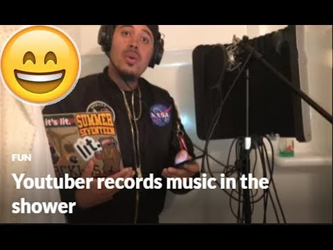 Youtuber records music in the shower
