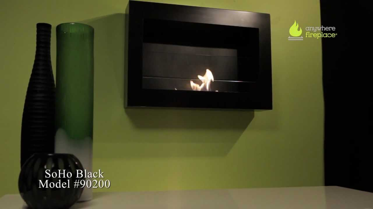 anywhere fireplace soho in black wall mount ethanol fireplace