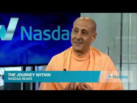 Radhanath Swami with Jay Shetty at Nasdaq Square