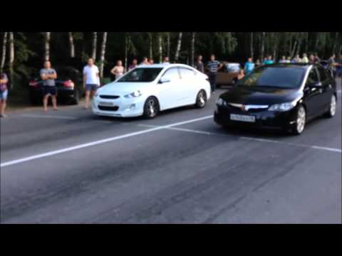 Honda Civic 1 8 Turbo 220 Hp VS Hyndai Solaris 1 6 MT