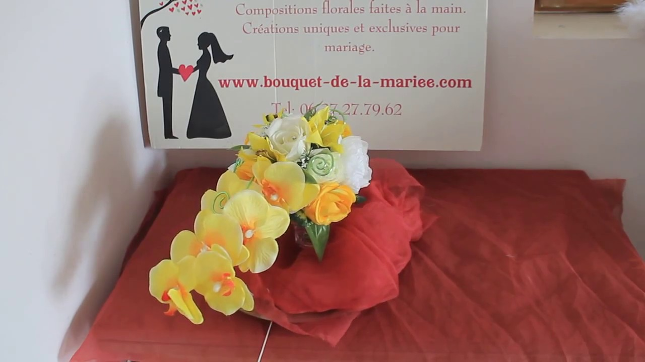 bouquet de la mariée cascade avec des orchidées orange - youtube