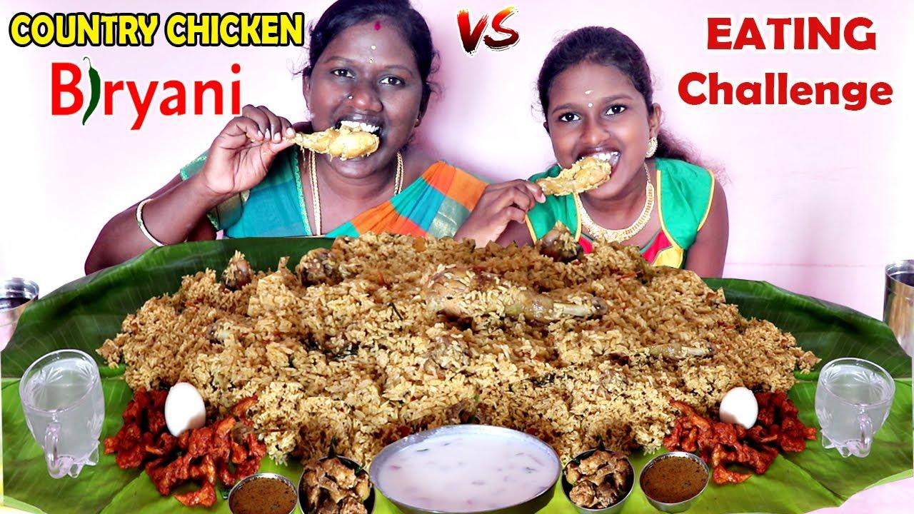 COUNTRY CHICKEN BIRYANI EATING COMPETITION IN TAMIL FOODIES DIVYA vs ANUSHYA || Biryani Challenge