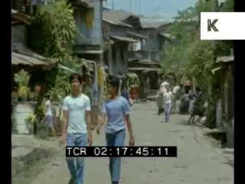 1985 Manila Philippines, Streets, People, Cars, Poor Area - Rare 35mm Footage