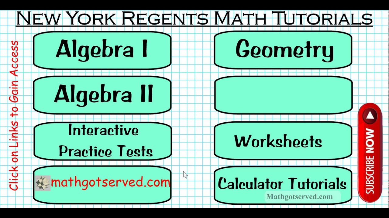 New York Regents Math Test Prep Directory Tutorials Integrated ...