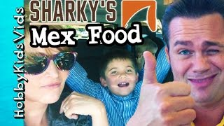 Nachos, Tacos Hot Salsa! Sharkeys Food Review + Mexican Restaurant Shrimp Hobbykidsvids
