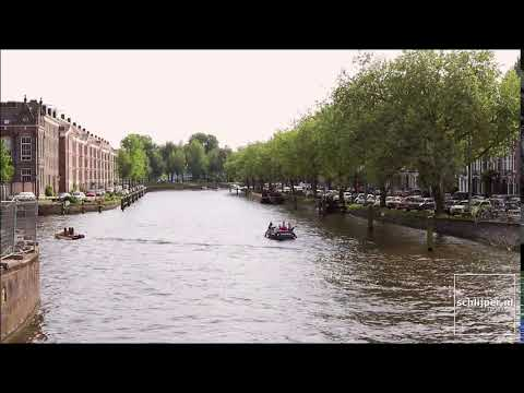 Boats at Singelgracht canal Amsterdam