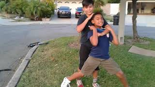 Kids wrestling for fun