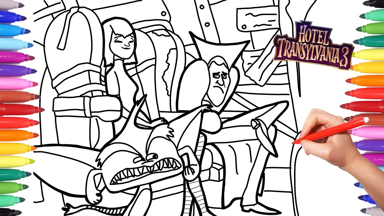 Hotel Transylvania 3 Coloring Pages For Kids Mavis And Dracula Go On Vacation Learn Coloring