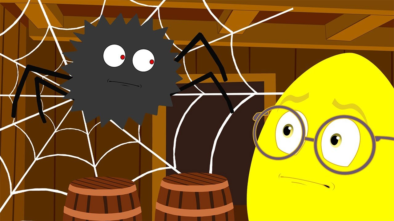 Animation and cartoon for children. Egg Robinson Crusoe. Researching the ship and Meet the spider.