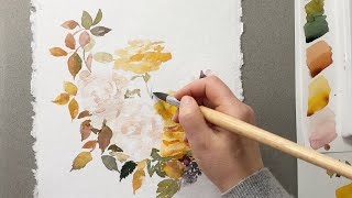 Watercolor yellow Roses and leaves - flower painting demonstration