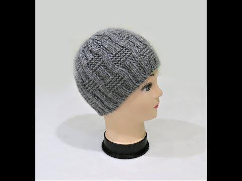 Мастер класс. Мужская шапка спицами с круглой макушкой. Men's Knitting Hat