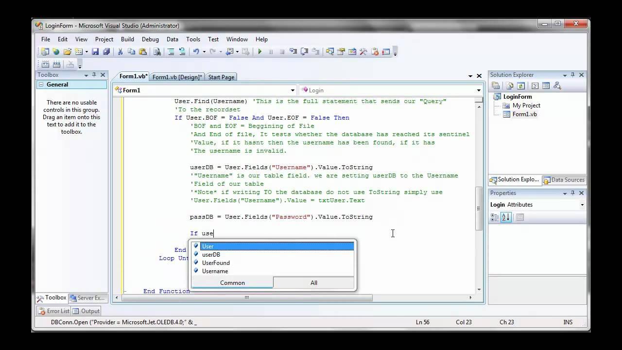 Visual Basic Login Form Using Access Database Part 2 - YouTube