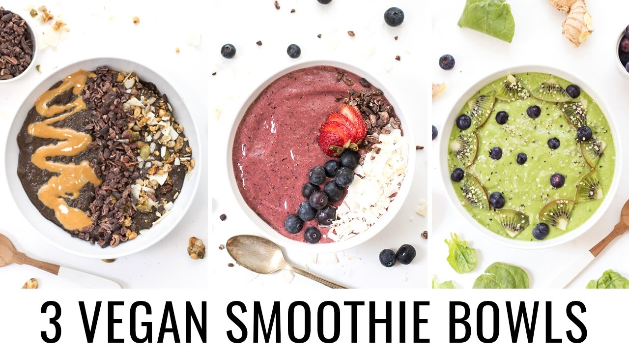 3 HEALTHY SMOOTHIE BOWLS | chocolate, berry + detox green | VEGAN & BANANA-FREE