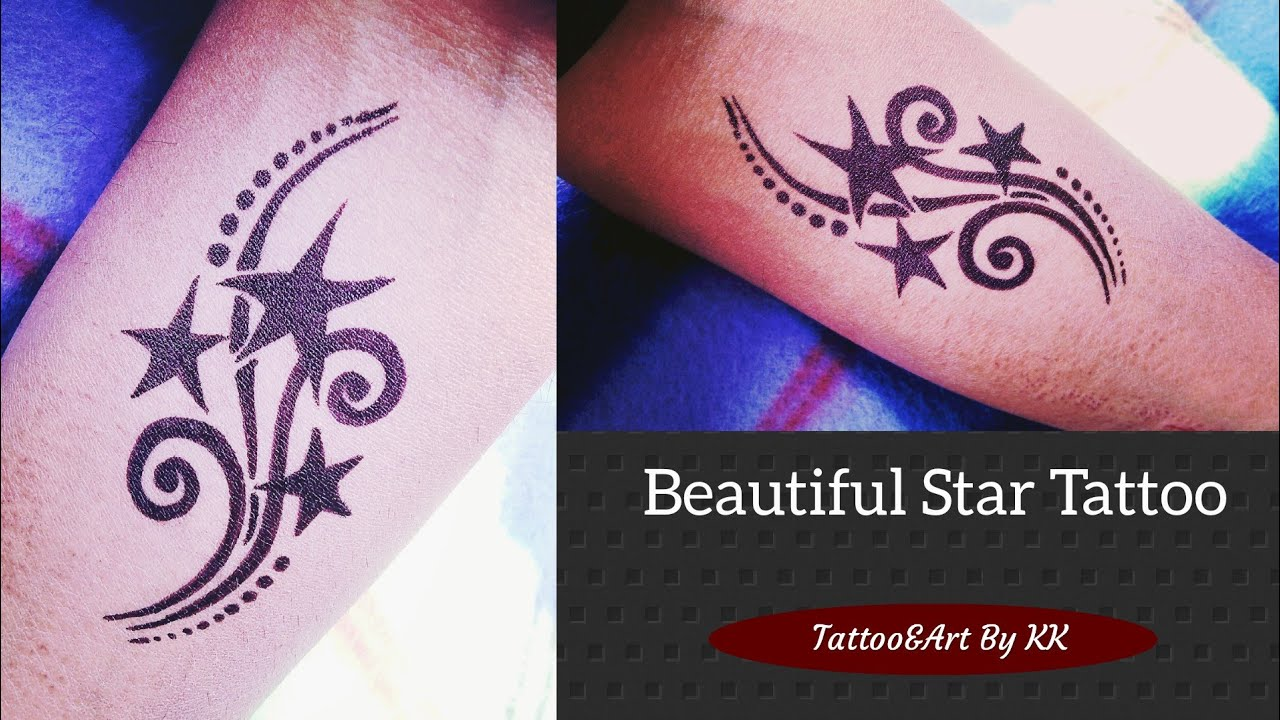 How to make Star Tattoo on hand at home  Tattoo&Art By KK