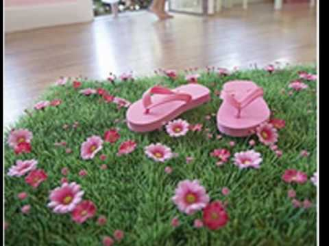 Grass Mat With Pink Daisy Flowers For Fairy Garden Party Wedding