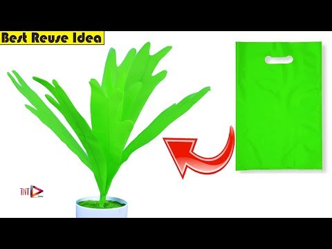 DIY Artificial Plant For Home Decoration Using Carry Bag | Staghorn Fern Plant | Best Reuse Idea