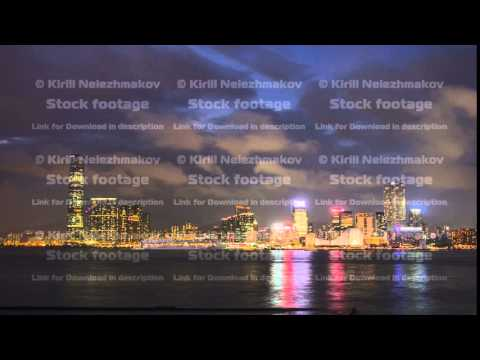 Shyline panorama timelapse day to night with International Commerce Centre in West Kowloon, Hong