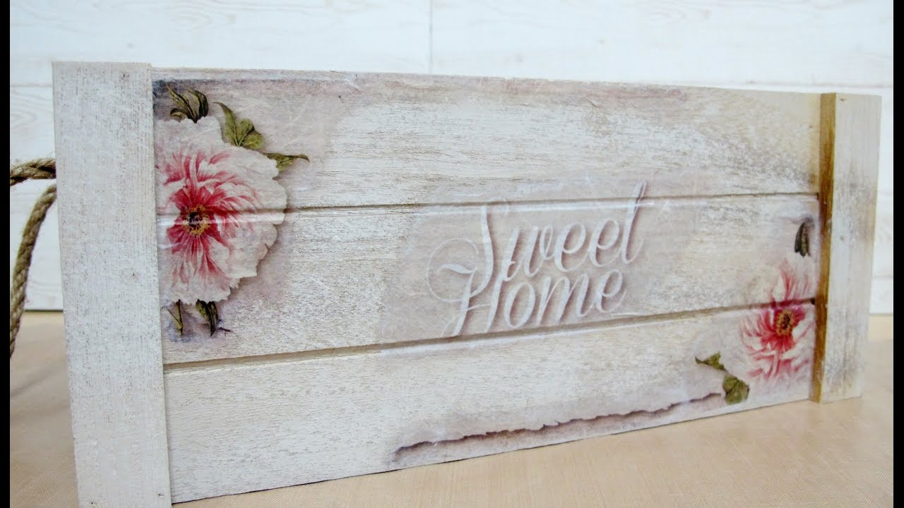 Decorar caja de madera con decoupage youtube - Decorar madera con pintura ...