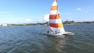 Sailing SeaWind 24 Catamaran - Drone footage.