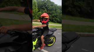 from Honda 150 to harley to a quad .. start em young (raw footage #shorts