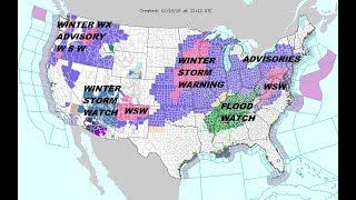 Winter Storm Warnings Winter Weather Advisories acorss the Plains to the Northeast & Middle Atlantic