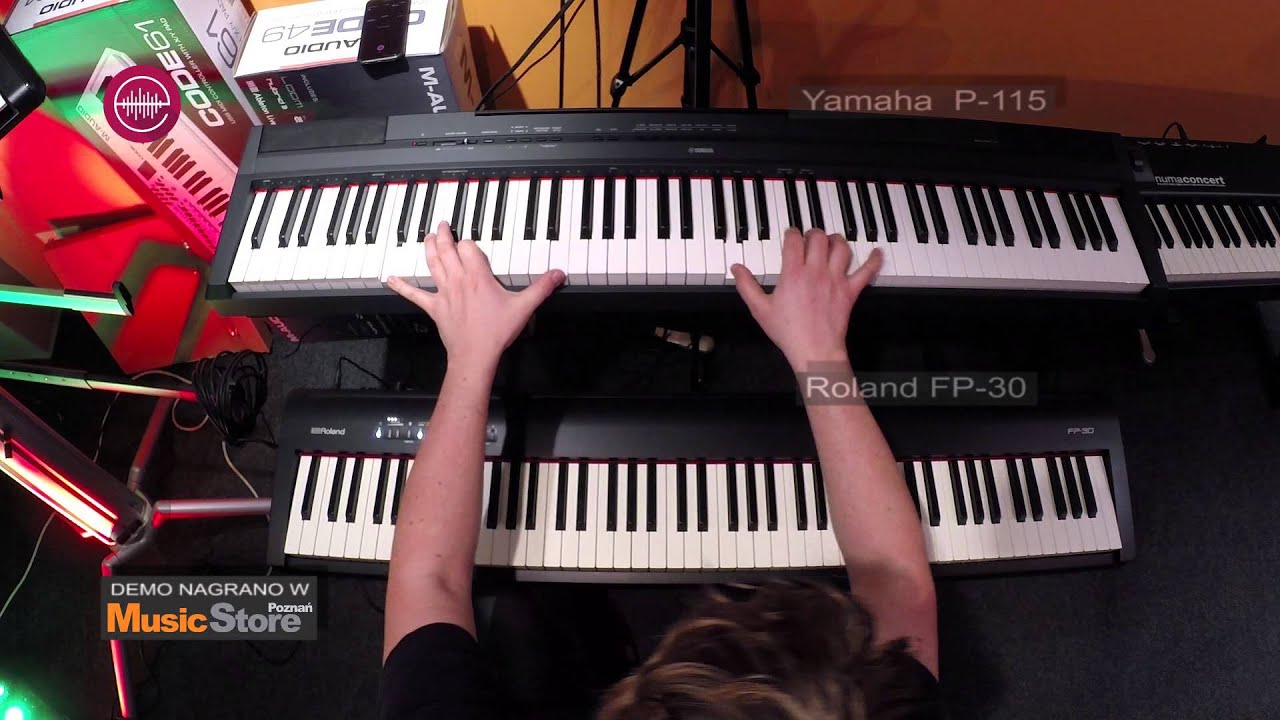 roland fp 30 vs yamaha p 115 grand piano sounds compa