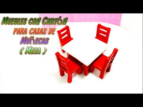 Muebles con cart n para casas de mu ecas mesa youtube - Imagenes de muebles de carton ...
