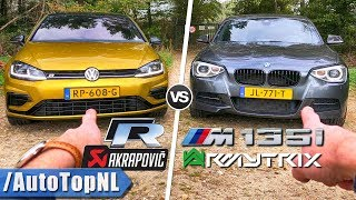 BMW M135i Armytrix vs VW Golf R Akrapovic REVIEW POV Test Drive on AUTOBAHN & ROAD by AutoTopNL