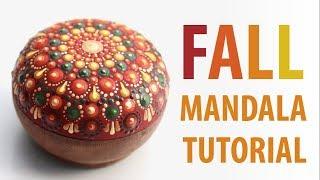 Dot Mandala in FALL COLORS - Dot painting tutorial for beginners