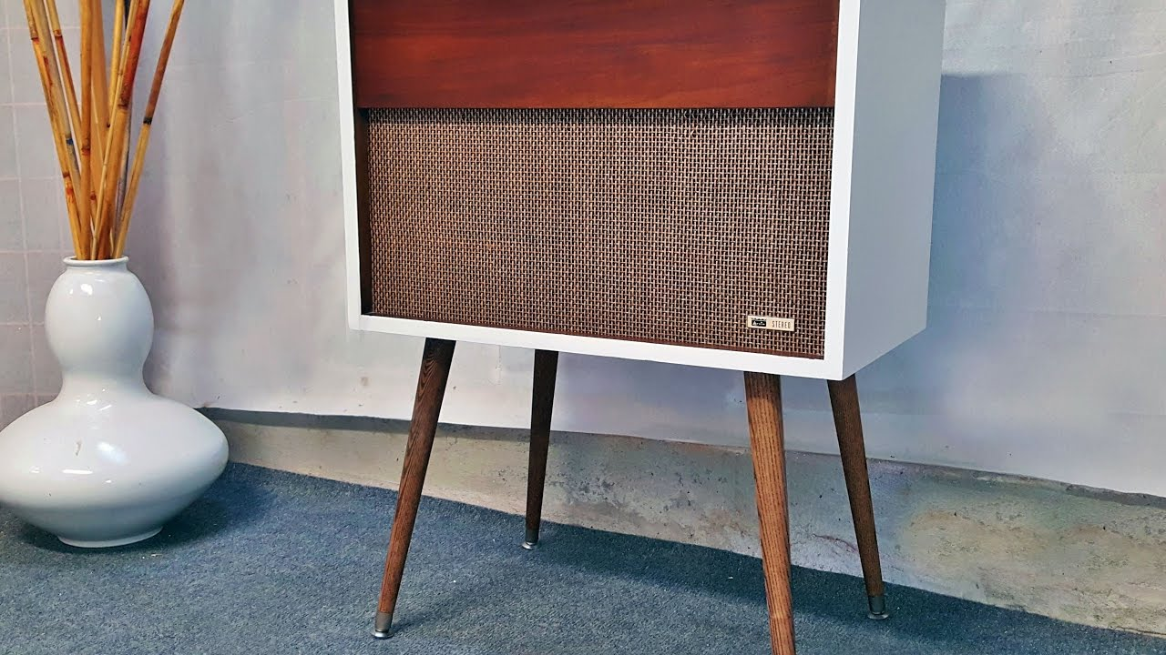 Arvin Refurbished Mid Century Modern Record Player Console With Bluetooth