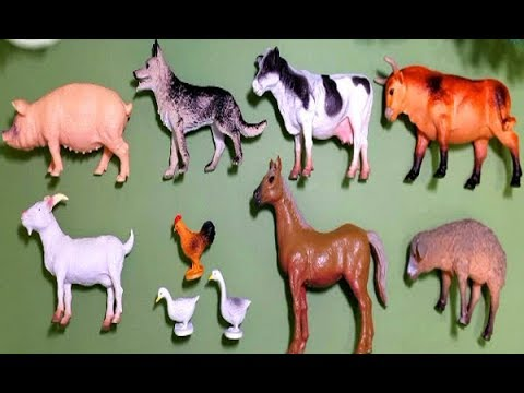 farm world toy animals for children pig cow goat sheep
