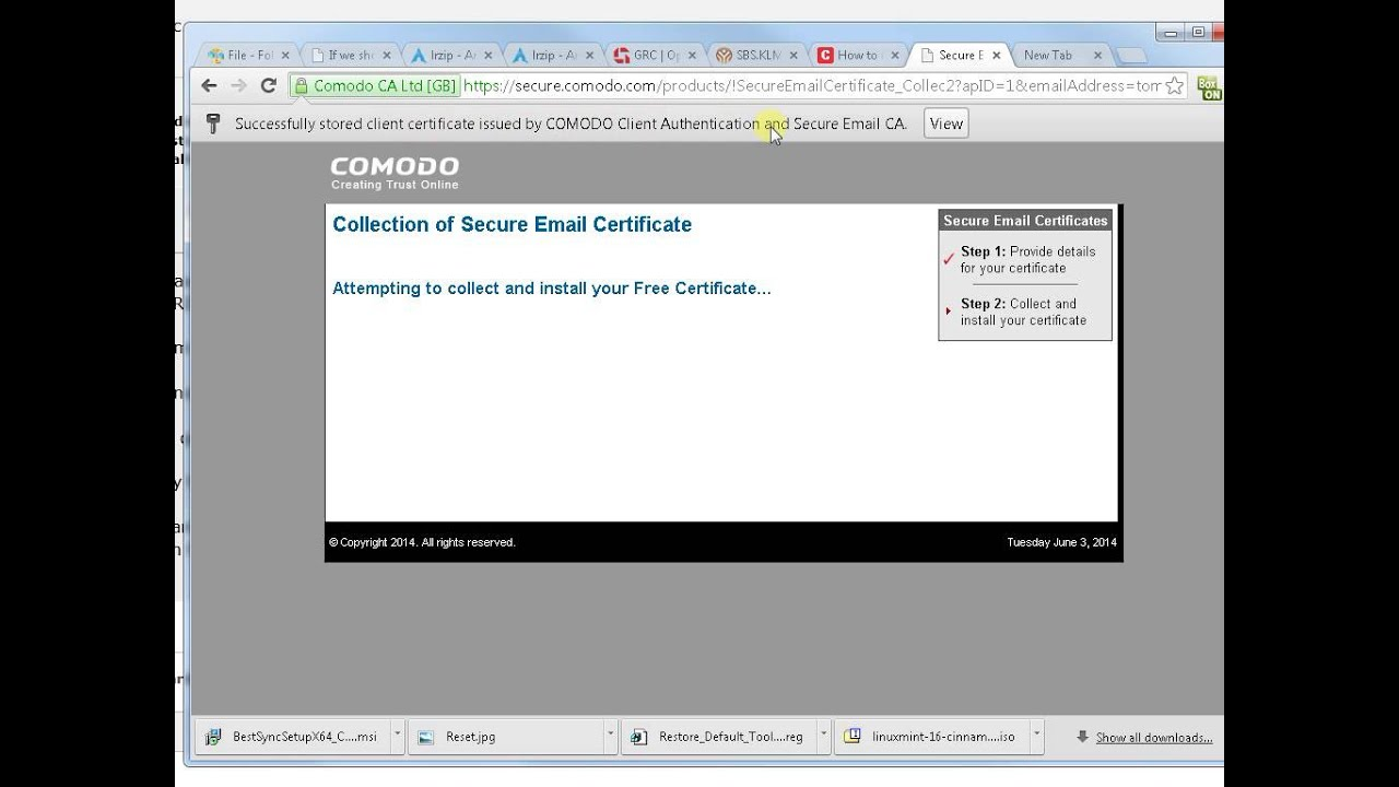 How to download comodo email certificate manually youtube how to download comodo email certificate manually 1betcityfo Choice Image