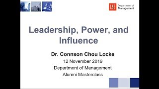 Leadership, Power and Influence - 12th November 2019