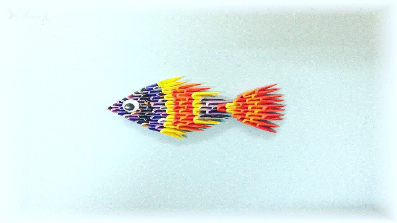 How to make 3d origami fish youtube for Create a fish