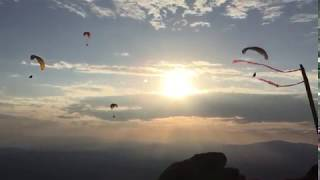 Sunset flying mount Olympus - Olympic Wings paragliding Greece