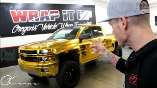 THE GOLD MONSTER GOLD CHROME VINYL WRAPPED TRUCK! The First Level 3 Chrome Workshop Student