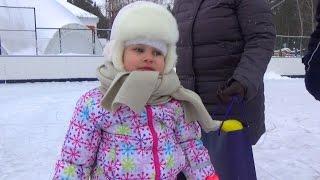 Алиса в восторге от катка!!! Развлечение для детей катание на коньках и игра в хоккей