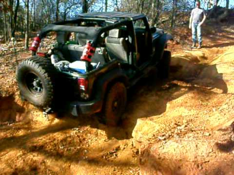 Jeep JK on a trail exit at Barnwell Mountain