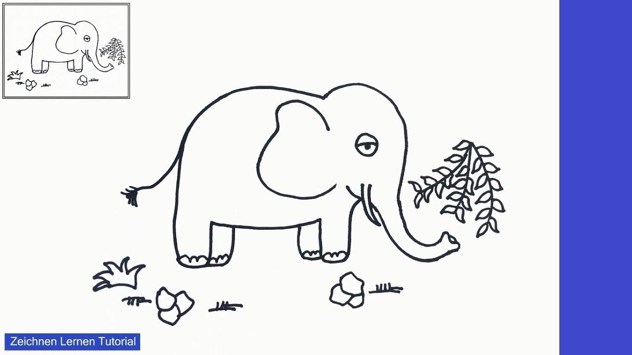 Elefant zeichnen lernen einfach schritt für schritt für ...