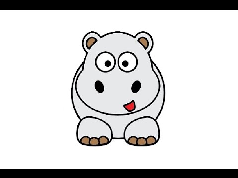 How to Draw a Cute Hippo Easy step by step / Как ...  How to Draw a C...