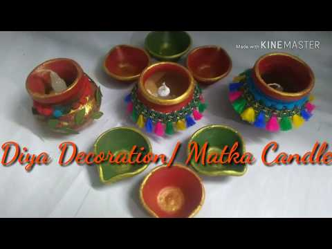 How to decorate/paint diya/ matka candles for Diwali ___Diwali Decoration