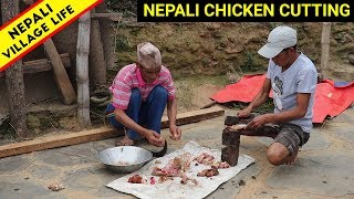 Village Life Of Nepal | Cutting two chicken and fry together in Nepali Village | IamSuman