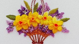 Flower Embroidery:  Flowers Daffodils | Вышивка: Цветы �арци��ы